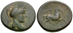 Ancient Coins - Thessaly. Thessalian League. Kyllos, magistrate Æ18 / Horse