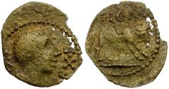Ancient Coins - Celtic Tribes of Southern Gaul. Uncertain Tribe. T. Pom. Sex. F. Æ16 / Bull