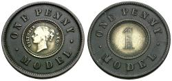 World Coins - Great Britain. Victoria Bi-Metallic Penny Model Token / Non-Selected Trial Strike