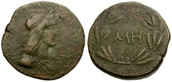Ancient Coins - Bosporian Kings, Rhoemetalkes I Æ24 / Wreath