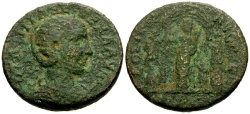 Ancient Coins - Otacilia Severa, Wife of Philip I, Syria Heliopolis Æ28 / Tyche with two Athletes
