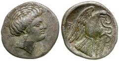 Ancient Coins - Euboia. Chalkis AR Drachm / Eagle