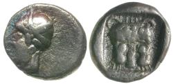 Ancient Coins - Caria. Uncertain Mint AR Obol / Panther Scalp