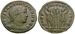 Ancient Coins - Constantine II, as Caesar (AD 316-337) Æ3 / Soldiers and Standards