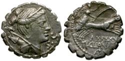 Ancient Coins - 79 BC - Roman Republic. Ti. Claudius Ti.f. Ap. N. Nero AR Serrate Denarius / Diana