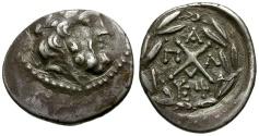 Ancient Coins - Achaia.  Achaean League. Pallantion AR Hemidrachm / Zeus