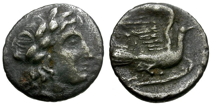 Ancient Coins - Sikyonia.  Sikyon AR Obol / Apollo / Dove
