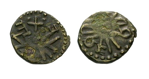 Ancient Coins - Anglo Saxon Kings of Northumbria Eanred Billon Sceat / Moneyer Fordred / Retrograde Legends