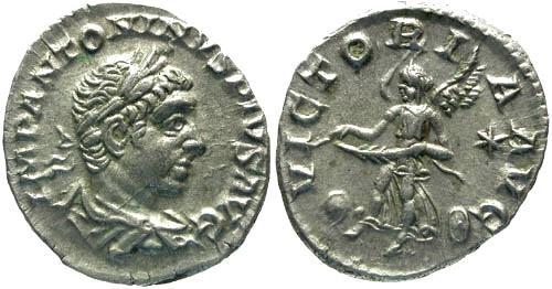 Ancient Coins - VF/VF Elagabalus Denarius / Victory