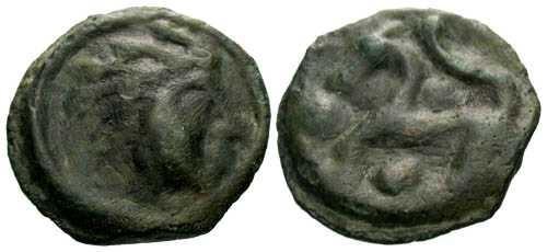 Ancient Coins - aVF/aVF Senones tribe potin / Horse