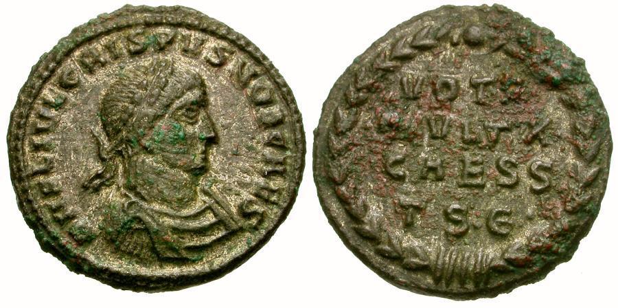 Ancient Coins - Crispus Caesar Æ3 / Votive
