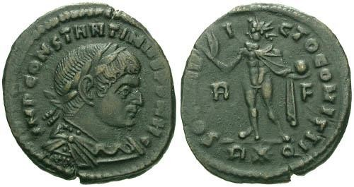 Ancient Coins - VF/VF Constantine the Great Follis / Sol