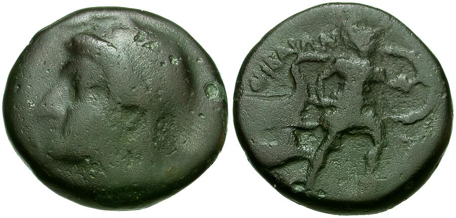 Ancient Coins - Thessaly. Thebai Æ Trichalkon / Protesilaos and Galley