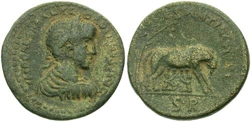 Ancient Coins - VF/VF Gordian III AE34 Antioch Pisidia / She Wolf and Twins