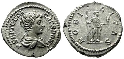 Ancient Coins - VF/VF Geta AR Denarius / Nobilitas