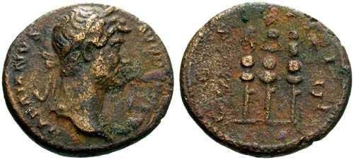 Ancient Coins - aVF/F+ Hadrian Quadrans / Three Standards