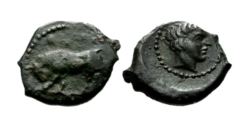 Ancient Coins - aVF/EF Sicily Gela AE Onkia Bull and Youth