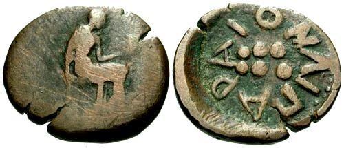 Ancient Coins - aF/gF Islands off Sicily Lipara AE Hemilitra  RRR