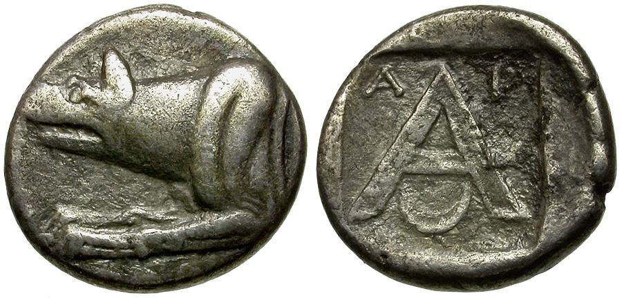 Ancient Coins - Argolis.  Argos AR Triobol / Wolf