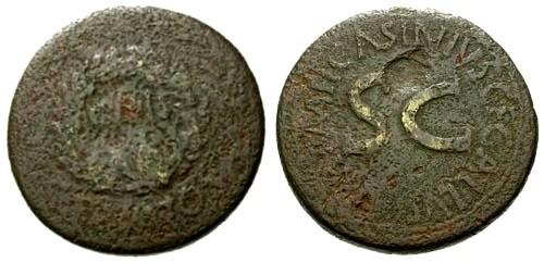 Ancient Coins - F/F Augustus AE Sestertius / Wreath / S C