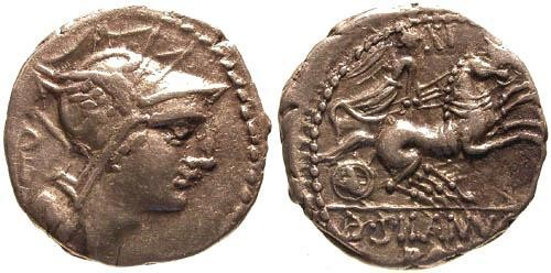 Ancient Coins - 91 BC / Junia 15 Roman Republic Denarius / Victory in biga