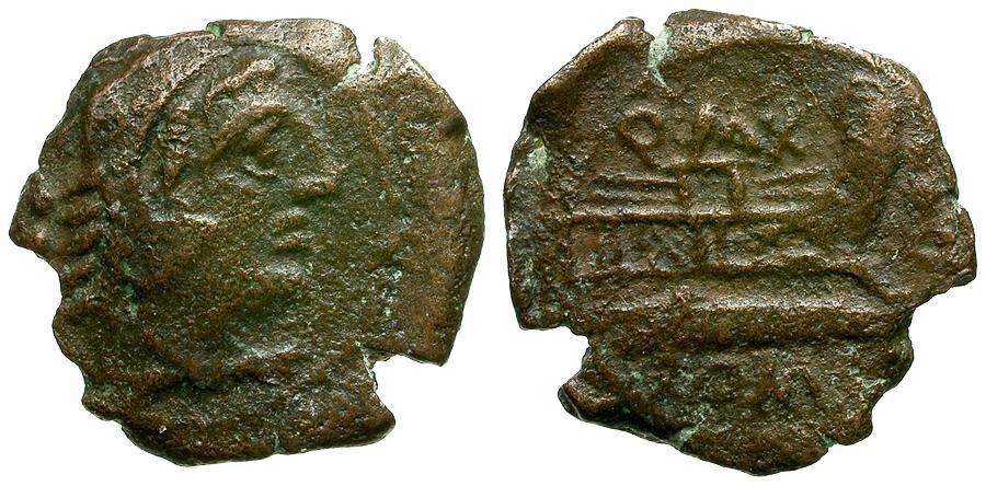Ancient Coins - 127 BC - Roman Republic Q.Fabius Maximus Æ Quadrans / Q MAX