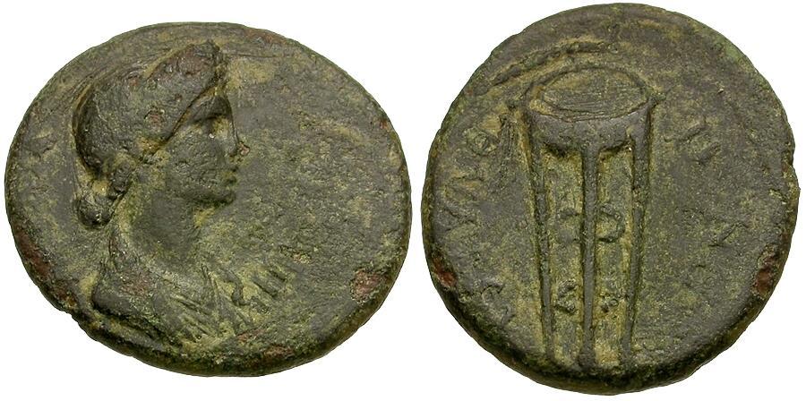 Ancient Coins - Domitia (AD 82-96). Lydia. Thyateira Æ17 / Tripod
