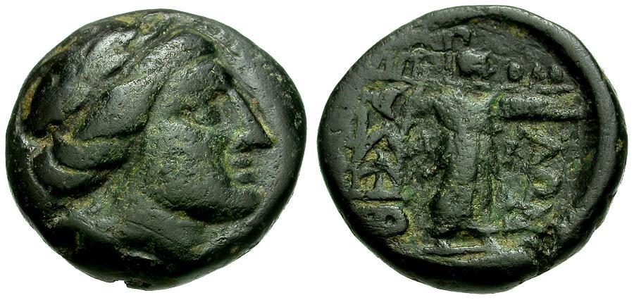 Ancient Coins - Thessaly.  Thessalian League Æ18 / Apollo / Athena