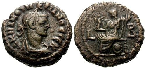 Ancient Coins - VF/VF Numerian Egypt Alexandria AE Billon Tetradrachm / Athena