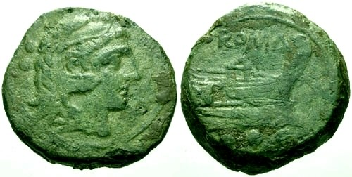 Ancient Coins - VF/VF 211 BC Roman Republic AE Quadrans GOODMAN COLLECTION
