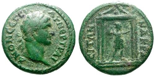 Ancient Coins - aVF/aVF Trajan AE19 Lydia Nacrasa / Temple of Artemis