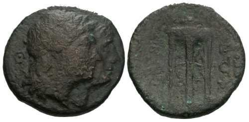 Ancient Coins - F/F Bruttium Rhegion AE Triens / Tripod