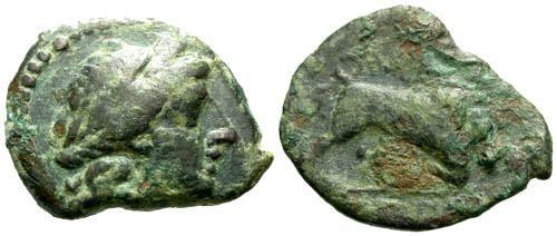 Ancient Coins - F/F Massalia Bronze / Bull