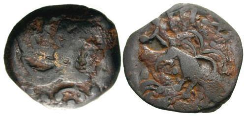 Ancient Coins - F+/aVF Senones AE15 / Bird