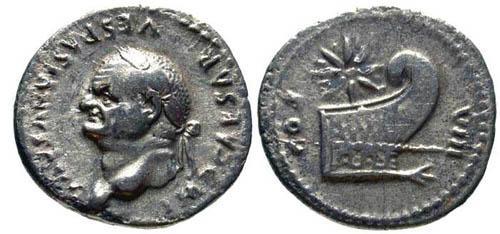 Ancient Coins - VF Vespasian AR Denarius / Prow