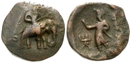Ancient Coins - aVF/aVF Kushan Kingdom AE28 Huvishka