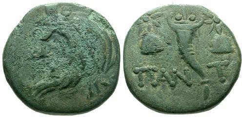 Ancient Coins - F/aVF Pantikapaion AE16 / Caps of the Dioscuri