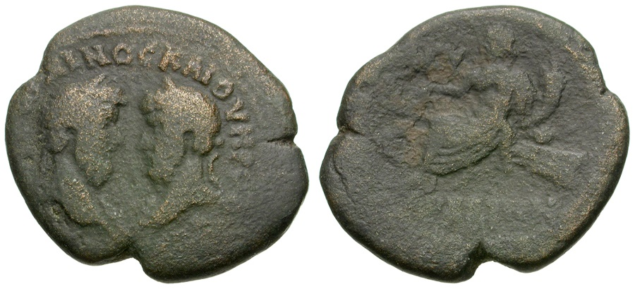 Ancient Coins - Marcus Aurelius and Lucius Verus. Phoenicia, Arados Æ27 / Tyche Seated on Rudder
