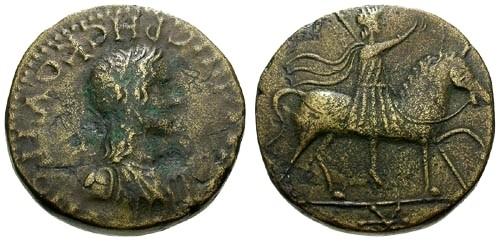 Ancient Coins - aVF/aVF Bosporus Rheskuporis II AE24 / King on horseback