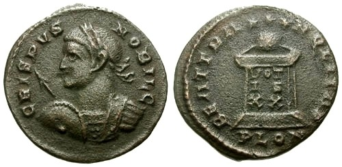 Ancient Coins - VF/aVF Crispus AE3 / Globe on Altar