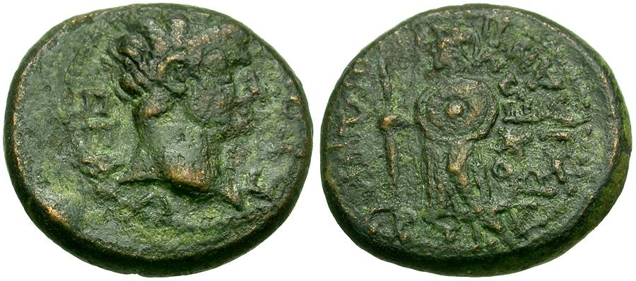 Ancient Coins - Augustus (27 BC-AD 14). Caria. Antiochia ad Maeandrum Æ15 / Athena
