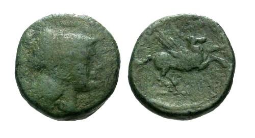 Ancient Coins - F/F Corinth AE16 / Athena / Pegasus