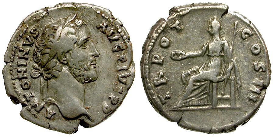 Ancient Coins - Antoninus Pius AR Denarius / Clementia