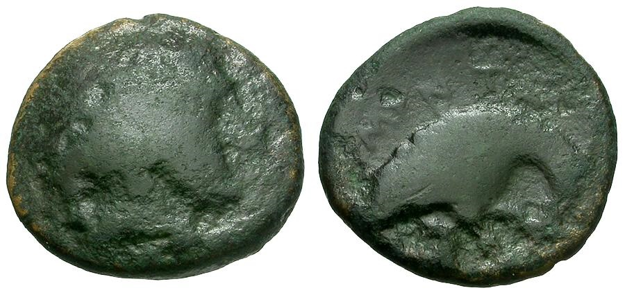Ancient Coins - Kings of Macedon.  Amyntas III Æ16 / Eagle with Serpent