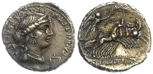 Ancient Coins - 82-81 BC EF/EF Annia 2 Roman Republic AR Denarius bust of Anna Perenna