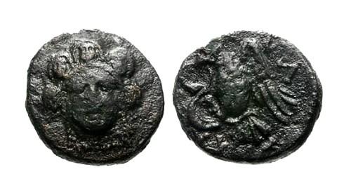 Ancient Coins - VF/VF Euboia Chalkis AE14 / Hera
