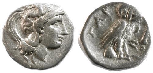 Ancient Coins - aVF/aVF Calabria Taras AR Drachm / Athena / Owl