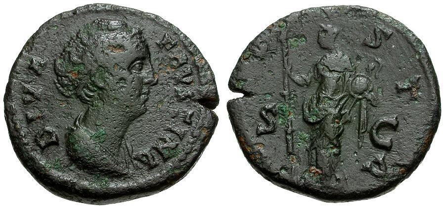 Ancient Coins - Diva Faustina I Æ AS / Vesta
