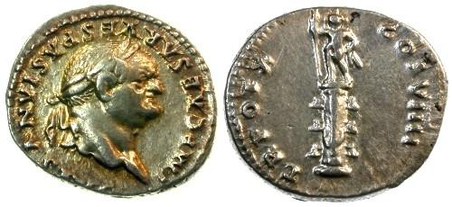 Ancient Coins - EF/EF Vespasian AR Denarius / Statue of Sol