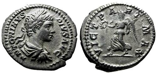 Ancient Coins - VF/aVF Caracalla AR Denarius / Victory